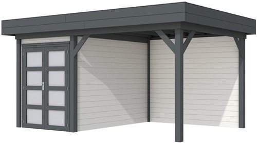 Blokhut Zwaluw met luifel 400, afm. 586 x 303 cm, plat dak, houtdikte 28 mm,  - basis en deur antraciet, wand wit gespoten