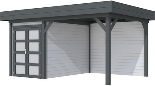 Blokhut Zwaluw met luifel 400, afm. 586 x 303 cm, plat dak, houtdikte 28 mm,  - basis en deur antraciet, wand grijs gespoten