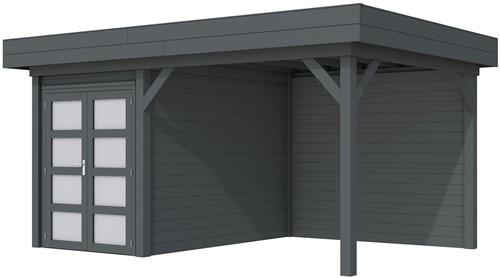 Blokhut Zwaluw met luifel 300, afm. 493 x 303 cm, plat dak,  houtdikte 28 mm. - volledig antraciet gespoten