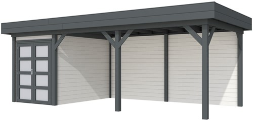 Blokhut Zwaluw met luifel 500, afm. 684 x 303 cm, plat dak, houtdikte 28 mm. - basis en deur antraciet, wand wit gespoten