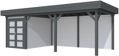 Blokhut Zwaluw met luifel 500, afm. 684 x 303 cm, plat dak, houtdikte 28 mm. - basis en deur antraciet, wand grijs gespoten