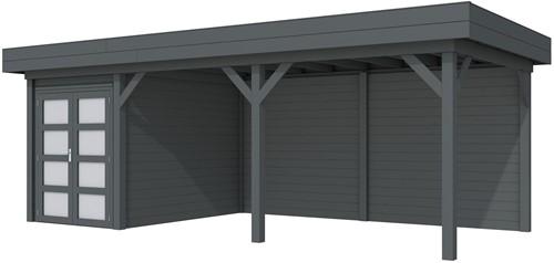 Blokhut Zwaluw met luifel 500, afm. 684 x 303 cm, plat dak, houtdikte 28 mm. - volledig antraciet gespoten