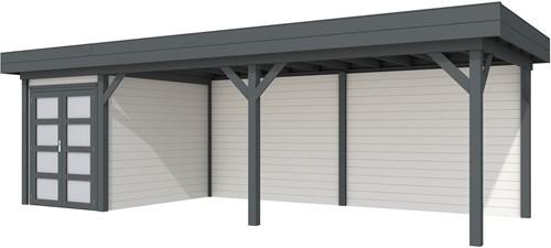 Blokhut Zwaluw met luifel 600, afm. 784 x 303 cm, plat dak, houtdikte 28 mm. - basis en deur antraciet, wand wit gespoten