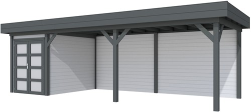 Blokhut Zwaluw met luifel 600, afm. 784 x 303 cm, plat dak, houtdikte 28 mm. - basis en deur antraciet, wand grijs gespoten