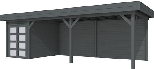 Blokhut Zwaluw met luifel 600, afm. 784 x 303 cm, plat dak, houtdikte 28 mm. - volledig antraciet gespoten