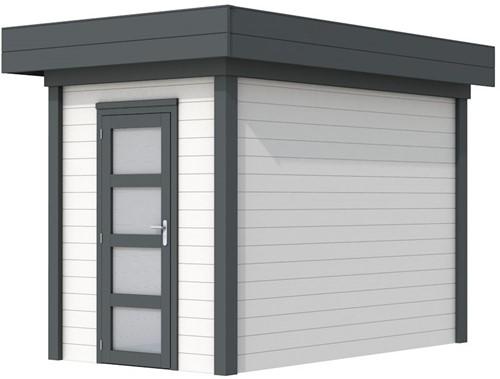 Blokhut Kiekendief, afm. 203 x 303 cm. plat dak, houtdikte 28 mm. - basis en deur antraciet, wand wit gespoten