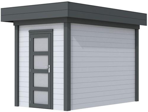 Blokhut Kiekendief, afm. 203 x 303 cm. plat dak, houtdikte 28 mm. - basis en deur antraciet, wand grijs gespoten