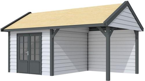 Blokhut Poolvos met luifel 300, afm. 600 x 300 cm, zadeldak, houtdikte 28 mm. - basis en deur antraciet, wand grijs gespoten