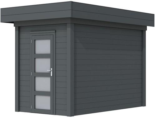 Blokhut Kiekendief, afm. 203 x 303 cm. plat dak, houtdikte 28 mm. - volledig antraciet gespoten