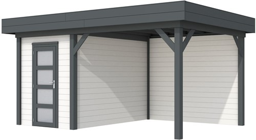 Blokhut Kiekendief met luifel 300, afm. 493 x 303 cm, plat dak, houtdikte 28 mm. - basis en deur antraciet, wand wit gespoten