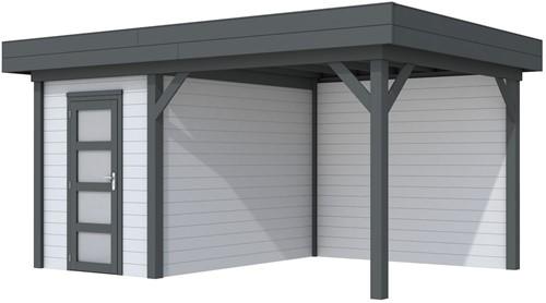 Blokhut Kiekendief met luifel 400, afm. 586 x 303 cm, plat dak, houtdikte 28 mm. - basis en deur antraciet, wand grijs gespoten