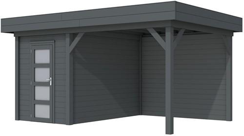 Blokhut Kiekendief met luifel 400, afm. 586 x 303 cm, plat dak, houtdikte 28 mm. - volledig antraciet gespoten