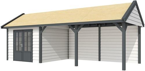 Blokhut Poolvos met luifel 500, afm. 787 x 303 cm, zadeldak, houtdikte 28 mm. - basis en deur antraciet, wand wit gespoten