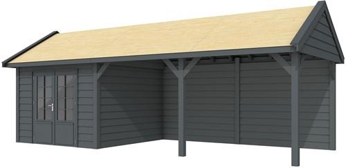 Blokhut Poolvos met luifel 500, afm. 800 x 300 cm, zadeldak, houtdikte 28 mm. - volledig antraciet gespoten