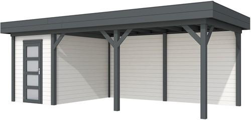 Blokhut Kiekendief met luifel 500, afm. 684 x 303 cm, plat dak, houtdikte 28 mm. - basis en deur antraciet, wand wit gespoten
