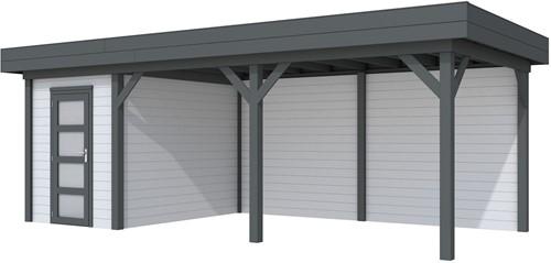 Blokhut Kiekendief met luifel 500, afm. 684 x 303 cm, plat dak, houtdikte 28 mm. - basis en deur antraciet, wand grijs gespoten