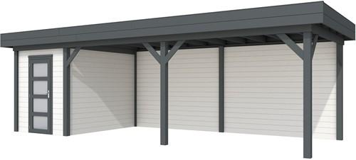 Blokhut Kiekendief met luifel 600, afm. 784 x 303 cm, plat dak, houtdikte 28 mm. - basis en deur antraciet, wand wit gespoten