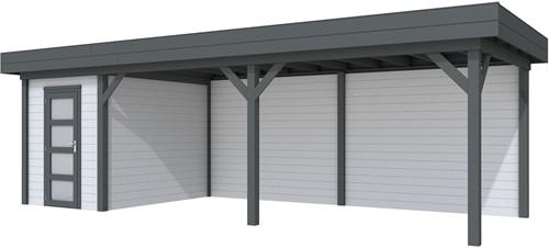 Blokhut Kiekendief met luifel 600, afm. 784 x 303 cm, plat dak, houtdikte 28 mm. - basis en deur antraciet, wand grijs gespoten