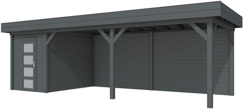 Blokhut Kiekendief met luifel 600, afm. 784 x 303 cm, plat dak, houtdikte 28 mm. - volledig antraciet gespoten