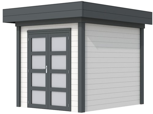 Blokhut Kolibri, afm. 253 x 253 cm, plat dak, houtdikte 28 mm. - basis en deur antraciet, wand wit gespoten
