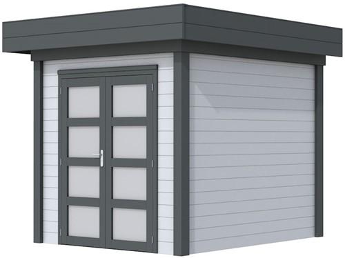 Blokhut Kolibri, afm. 253 x 253 cm, plat dak, houtdikte 28 mm. - basis en deur antraciet, wand grijs gespoten