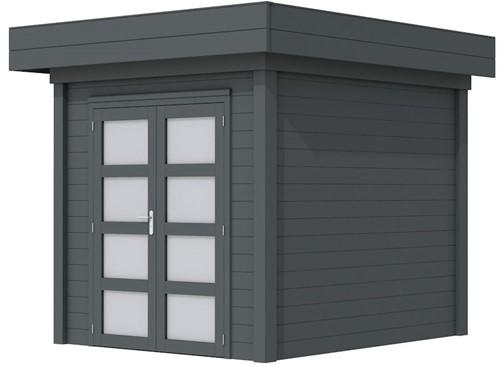 Blokhut Kolibri, afm. 253 x 253 cm, plat dak, houtdikte 28 mm. - volledig antraciet gespoten