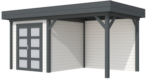 Blokhut Kolibri met luifel 300, afm. 543 x 253 cm, plat dak, houtdikte 28 mm. - basis en deur antraciet, wand wit gespoten