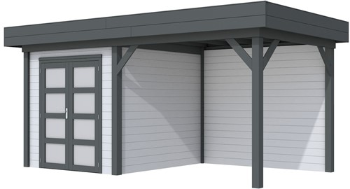 Blokhut Kolibri met luifel 300, afm. 543 x 253 cm, plat dak, houtdikte 28 mm. - basis en deur antraciet, wand grijs gespoten