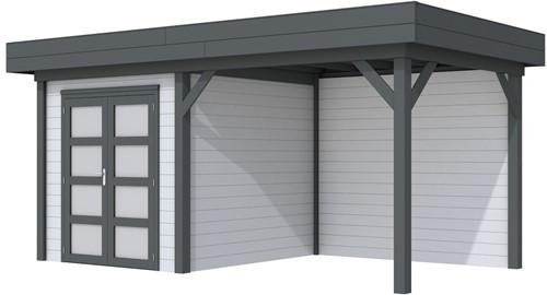 Blokhut Kolibri met luifel 400, afm. 650 x 250 cm, plat dak, houtdikte 28 mm. - basis en deur antraciet, wand grijs gespoten