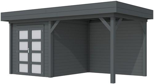 Blokhut Kolibri met luifel 300, afm. 543 x 253 cm, plat dak, houtdikte 28 mm. - volledig antraciet gespoten