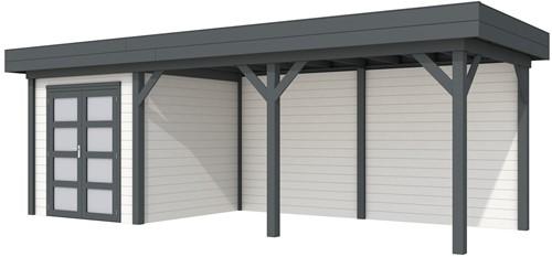 Blokhut Kolibri met luifel 500, afm. 734 x 253 cm, plat dak, houtdikte 28 mm. - basis en deur antraciet, wand wit gespoten