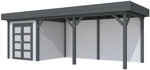 Blokhut Kolibri met luifel 500, afm. 734 x 253 cm, plat dak, houtdikte 28 mm. - basis en deur antraciet, wand grijs gespoten