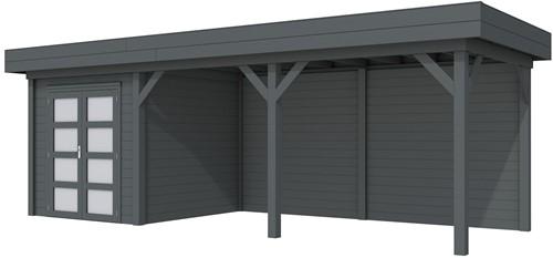 Blokhut Kolibri met luifel 500, afm. 750 x 250 cm, plat dak, houtdikte 28 mm. - volledig antraciet gespoten