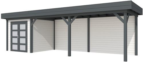 Blokhut Kolibri met luifel 600, afm. 834 x 253 cm, plat dak, houtdikte 28 mm. - basis en deur antraciet, wand wit gespoten