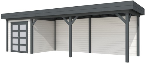 Blokhut Kolibri met luifel 600, afm. 850 x 250 cm, plat dak, houtdikte 28 mm. - basis en deur antraciet, wand wit gespoten