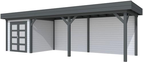 Blokhut Kolibri met luifel 600, afm. 834 x 253 cm, plat dak, houtdikte 28 mm. - basis en deur antraciet, wand grijs gespoten
