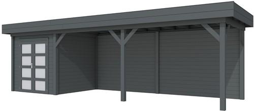 Blokhut Kolibri met luifel 600, afm. 850 x 250 cm, plat dak, houtdikte 28 mm. - volledig antraciet gespoten