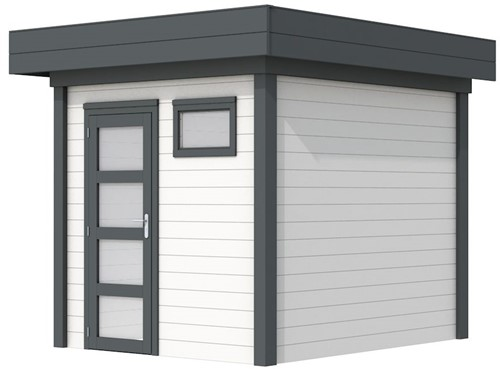 Blokhut Kuifmees, afm. 250 x 250 cm, plat dak, houtdikte 28 mm - basis en deur antraciet, wand wit gespoten