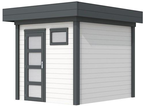 Blokhut Kuifmees, afm. 253 x 253 cm, plat dak, houtdikte 28 mm - basis en deur antraciet, wand wit gespoten