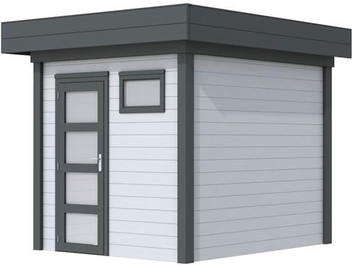 Blokhut Kuifmees, afm. 253 x 253 cm, plat dak, houtdikte 28 mm - basis en deur antraciet, wand grijs gespoten