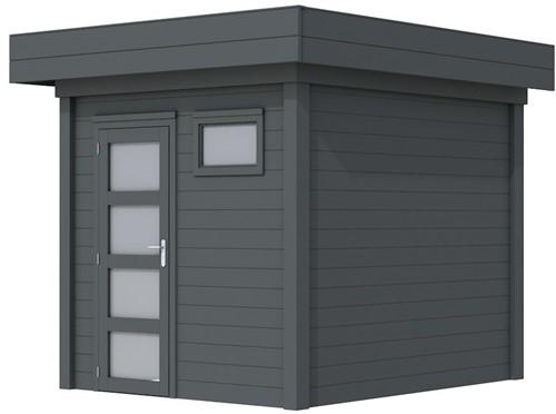 Blokhut Kuifmees, afm. 253 x 253 cm, plat dak, houtdikte 28 mm - volledig antraciet gespoten