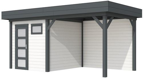 Blokhut Kuifmees met luifel 400, afm. 636 x 253 cm, plat dak, houtdikte 28 mm. - basis en deur antraciet, wand wit gespoten