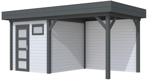 Blokhut Kuifmees met luifel 400, afm. 636 x 253 cm, plat dak, houtdikte 28 mm. - basis en deur antraciet, wand grijs gespoten
