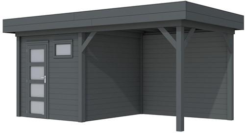 Blokhut Kuifmees met luifel 400, afm. 636 x 253 cm, plat dak, houtdikte 28 mm. - volledig antraciet gespoten