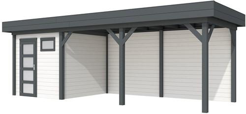 Blokhut Kuifmees met luifel 500, afm. 734 x 253 cm, plat dak, houtdikte 28 mm. - basis en deur antraciet, wand wit gespoten