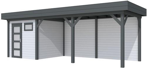 Blokhut Kuifmees met luifel 500, afm. 734 x 253 cm, plat dak, houtdikte 28 mm. - basis en deur antraciet, wand grijs gespoten