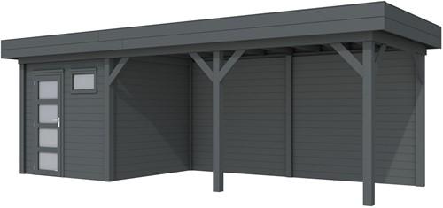 Blokhut Kuifmees met luifel 500, afm. 750 x 250 cm, plat dak, houtdikte 28 mm. - volledig antraciet gespoten