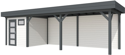 Blokhut Kuifmees met luifel 600, afm. 834 x 253 cm, plat dak, houtdikte 28 mm. - basis en deur antraciet, wand wit gespoten