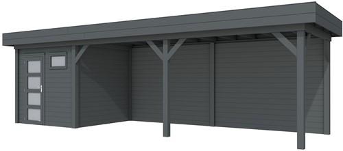 Blokhut Kuifmees met luifel 600, afm. 834 x 253 cm, plat dak, houtdikte 28 mm, - volledig antraciet gespoten