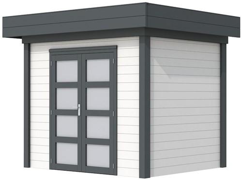 Blokhut Koekoek, afm. 303 x 203 cm, plat dak, houtdikte 28 mm. - basis en deur antraciet, wand wit gespoten
